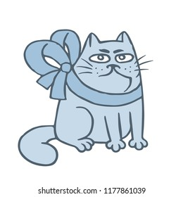 Angry cartoon cat pouted with bowknot. Cute cartoon pet