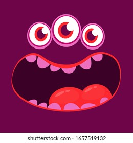 Angry cartoon monster face. Halloween monster square avatar