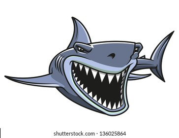 Angry danger shark in cartoon style for mascot design. Vector version also available in gallery