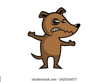 Angry Dog cartoon character. Rabid dog icon. Brown Dog illustration. Angry Dog isolated on a white background