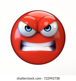 Angry emoji isolated on white background, mad emoticon 3d rendering