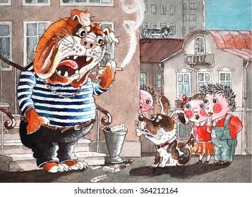 angry English bulldog swears for children,watercolor,art
