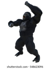 angry gorilla atack stand up 3d illustration
