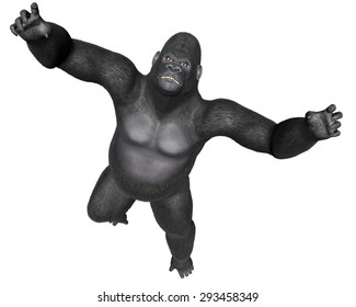 Angry gorilla jumping isolated in white background - 3D render