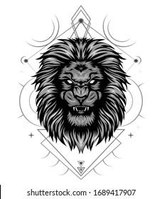 Angry lion king head logo