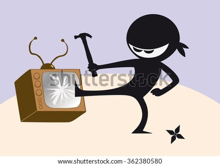 Royalty Free Stock Illustration Of Angry Ninja Broken Television