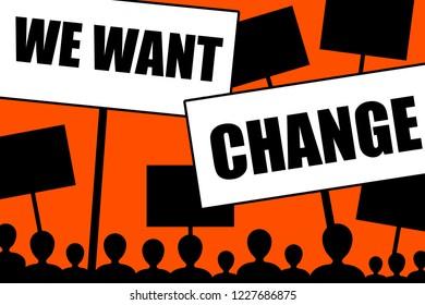 angry people demonstrating and demanding change