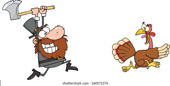 Angry Pilgrim Chasing With Axe A Turkey. Raster Illustration