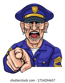 An angry policeman police officer pointing at the viewer and shouting cartoon