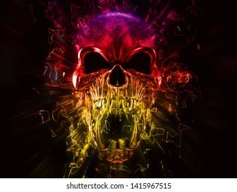 Angry screaming demon skull - neon polygon 3D illustration