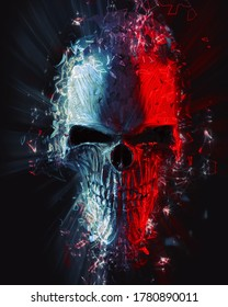 Angry skull exploding into glowing polygons  - 3D Illustration