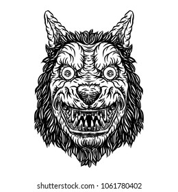 Angry smiling cunning wolf mascot head. Werewolf blackwork tattoo flash concept isolated on white. Detailed wolf face with scary eyes illustration.