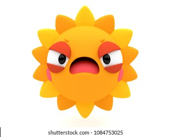 Angry sun shining 3D cartoon character, with a bad temper, like an emoji, isolated on a white background.