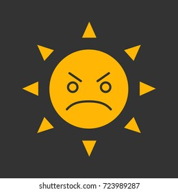 Angry sun smile glyph color icon. Bad mood. Frowned sun face. Silhouette symbol on black background. Negative space. Raster illustration