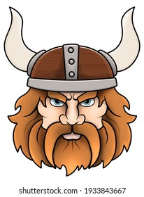 An angry Viking wearing a horned helmet.