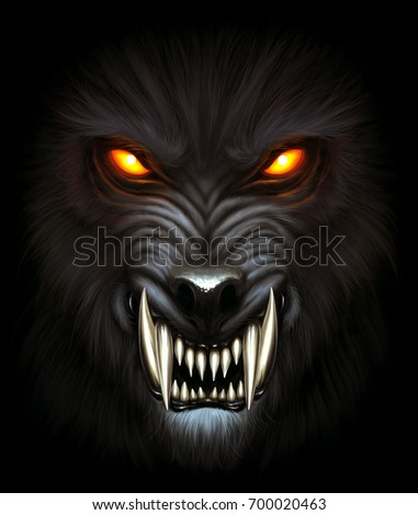 angry werewolf face darkness digital painting stock illustration