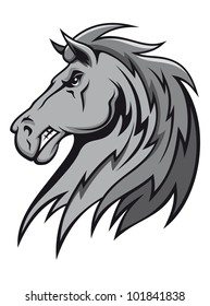 Angry wild stallion in cartoon design for mascot or equestrian sports design. Vector version also available in gallery