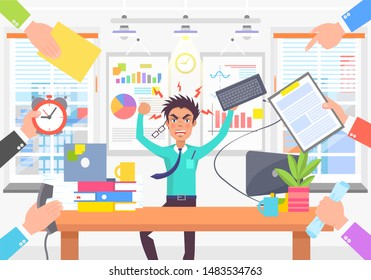 Angry worker due lot of different works color card grumpy man surrounded by abstract task and hands with documents office statistical charts