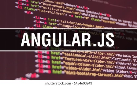 ANGULAR.JS concept illustration using code for developing programs and app. ANGULAR.JS website code with colourful tags in browser view on dark background. ANGULAR.JS on binary computer code,