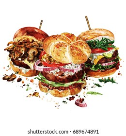 Angus, Swiss and Classic burgers. Watercolor Illustration.