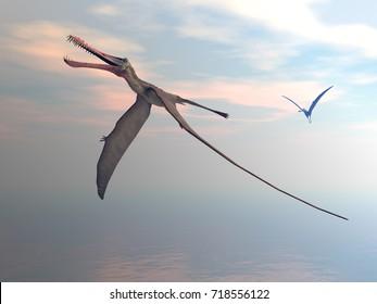 Anhanguera prehistoric birds - 3D render