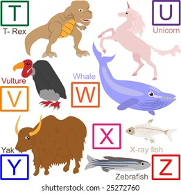 Animal alphabet, part 4 of 4. jpeg format. For vector version please see my portfolio