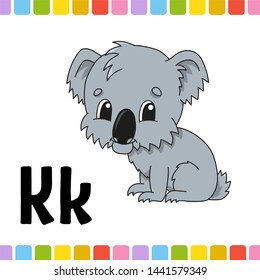 Animal alphabet. Zoo ABC. Cartoon cute animals  on white background. For kids education. Learning letters.  illustration