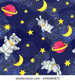 Animal astronauts in outer space. Seamless pattern. Children's watercolor illustration. Cute print with a Panda and a hare in a space suit. Pink planet, star, moon, infinite universe.