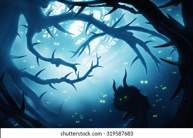 animal with burning eyes in dark mystic forest at night
