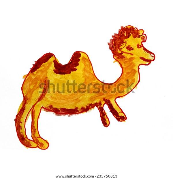 Animal Camel Cheerful Watercolor Drawing Cartoon Stock
