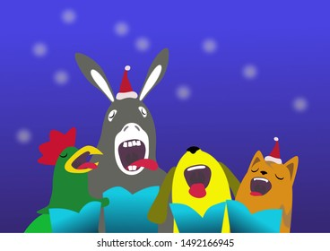 Animal carolling rooster donkey dog and cat