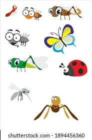 The animal characters of grasshopper insects, ants, dragonflies, butterflies, beetles, spiders, mosquitoes, flies, wasps can be used for various needs such as children's books, animation and so on