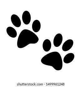 Animal, dog paw print. Isolated silhouette.  Raster illustration