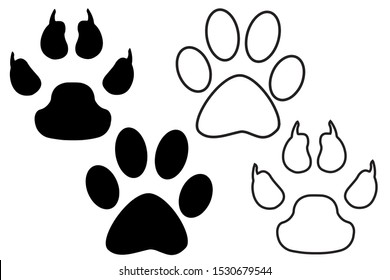 Animal, dog paw print. Set of different animal paw print. Isolated silhouette.