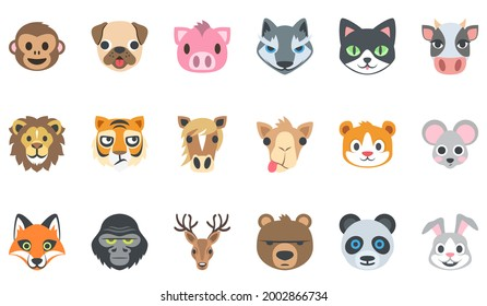animal face icon set : monkey ,dog, tiger, fox, cat, wolf, cow, lion, horse ,camel ,mouse, gorilla, panda, rabbit, bear, dear  . flat illustration icon set .