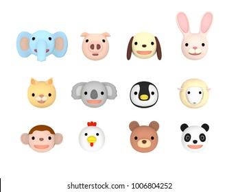 Animal faces illustration set Front , 3D illustration