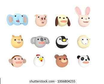 Animal faces illustration set Upward , 3D illustration