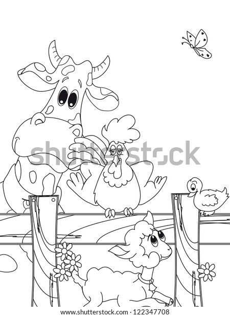 Animal Farm Cartoon Stock Illustration 122347708