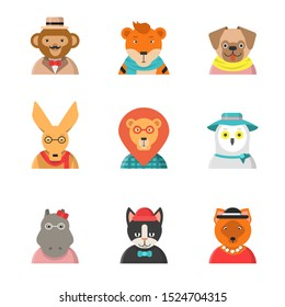 Animal funny faces. Hipster avatars of monkey cat kangaroo hippo tiger cute clothes zoo characters in flat style