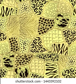 Animal fur patches abstract hand drawn seamless pattern patchwork wallpaper