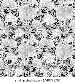 Animal fur patches abstract hand drawn seamless pattern black and white patchwork wallpaper