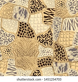 Animal fur patches. Peachy beige abstract hand drawn seamless pattern patchwork print