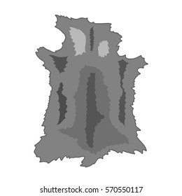 Animal hide icon in monochrome style isolated on white background. Stone age symbol stock bitmap, raster illustration.