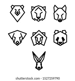 Animal icon set with black lines