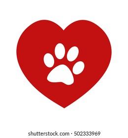 Animal love symbol paw print on red heart