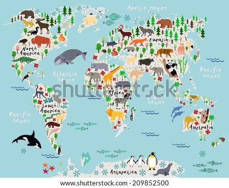 Royalty Free Stock Illustration Of Animal Map World Children Kids