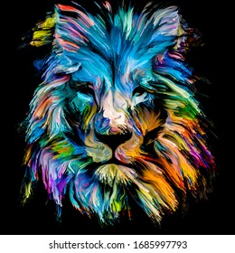 Animal Paint series. Lion multicolor portrait in vibrant paint on subject of imagination, creativity and abstract art.