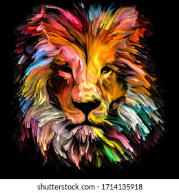 Animal Paint series. Lion's form in colorful paint on subject of imagination, creativity and abstract art.