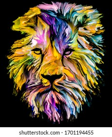 Animal Paint series. Lion's portrait in multicolor paint on subject of imagination, creativity and abstract art.