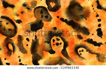 Animal print, leopard texture background. Modern artistic pattern. Watercolor or ink on blue paper.